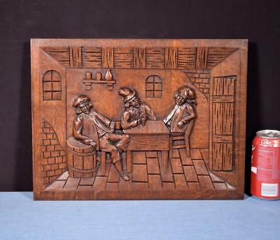 *French Antique Carved Panel Solid Oak Wood with People Drinking