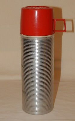 Vintage Thermos King Seeley Metal Insulated Bottle w/ Red Plastic Lid #2284