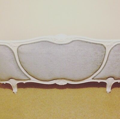 Vintage Stunning French Style Corbeille Bed Frame Re-Upholstered Painted