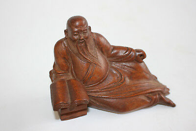 20th Century Antique Chinese Wooden Carved Old Man Figure Statue