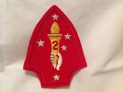 WW2 USMC 2nd Division cotton on felt/wool, cheesecloth back shoulder patch