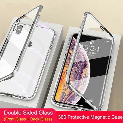 Magnetic Case For iPhone XR XS MAX X 8 7 6 6S Plus Double Sided Tempered Glass