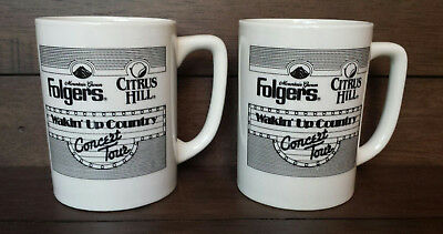 Set of (2) Folger's Citrus Hill WAKIN' UP COUNTRY Concert Tour Coffee/Tea Mugs