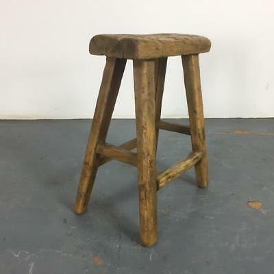 Vintage Rustic Antique Wooden Stool Milking Large Waxed W116