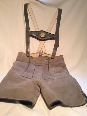 Authentic Vintage German Leather Bavarian Lederhosen Shorts Oktoberfest  FAB