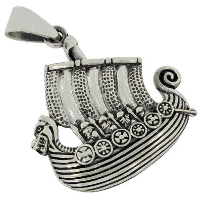 Viking dragon boat pendant celtic jewelry 925 sterling silver b698