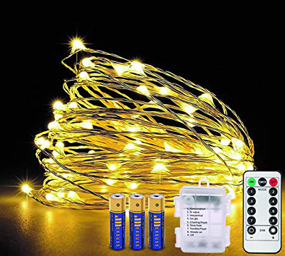 INDIGOOO 65.6ft LED Copper String 200-Light Warm White Remote Control,3AA Batter