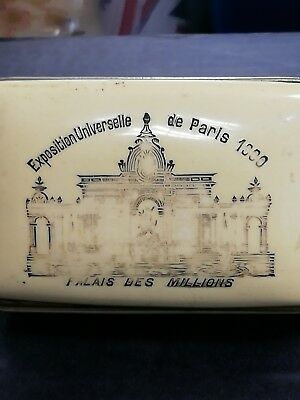 FRENCH ANTIQUE BONE AND LEATHER CARD CASE DATED Exposition De Paris 1900