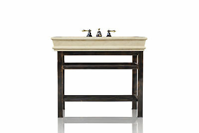 "Oil Rubbed Bronze Bath Vanity 36"" Travertine Top Single Bath Console Package"