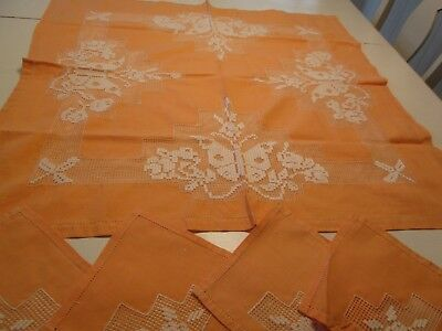 5 Pcs Vtg Orange Tablecloth Table Topper Luncheon Cloth Butterfly Drawn Work