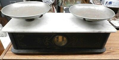 Antique Henry Troemner Marble Top Apothecary Balance Scales
