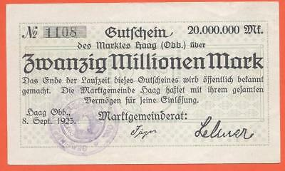 Germany - Haag - 20 Millionen Mark - 1923 - Emergency Note - Stamp
