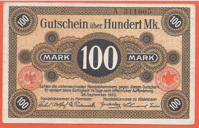 Germany - Hannover - 100 Mark - 1922 - Emergency Note