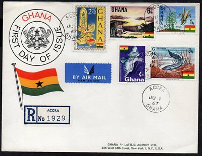 Ghana - 1967 5 x Definitive Issues on Registered Airmail First Day Cover