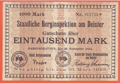 Germany - Barsinghausen - 1000 Mark - 1922 - Emergency Note