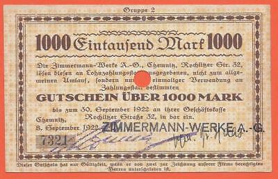 Germany - Chemnitz - 1000 Mark - 1922 - Emergency Note