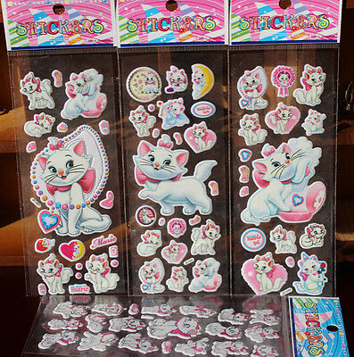 Lot Marie Cat 3D Cartoon Game Stickers Kids Reward Sticker Party Gifts w