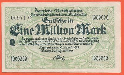 Germany - Karlsruhe - 1 Million Mark - 1923 - Emergency Note