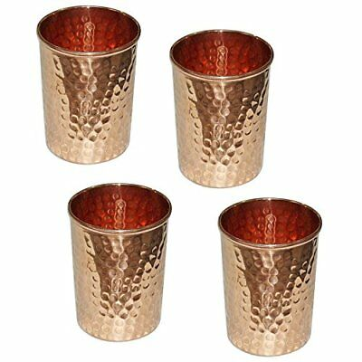 JMD INTERNATIONAL Hammered Handmade pure Copper glass 250 ml each (4) (s3p)
