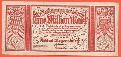 Germany - Regensburg - 1 Million Mark - 1923 - Emergency Note