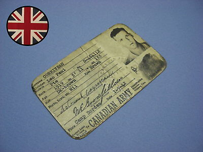 WWII 1942 Canadian Army M.F.M. 182 IDENTITY CARD to Three Rivers Trooper !