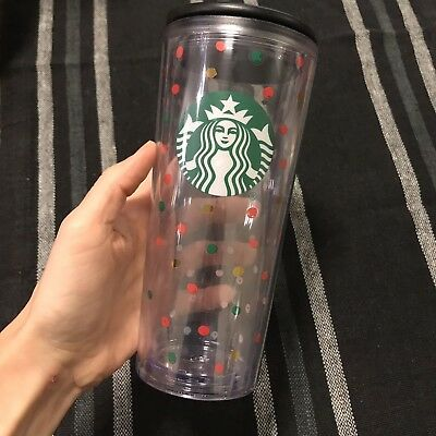 Starbucks 16oz Reusable Cup With Lid Polka Dots Logo Coffee Cup Mug NEW!