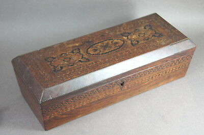 Fine Old Antique 19Th C English Tunbridge Ware Inlaid Wooden Box Treen Nr!