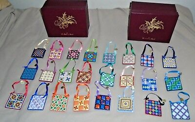 Set of 24 The Danbury Mint Christmas Quilt Ornaments in Two Boxes