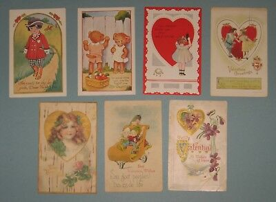 12 Vintage Valentine POSTCARDS Early 1900's some embossed used