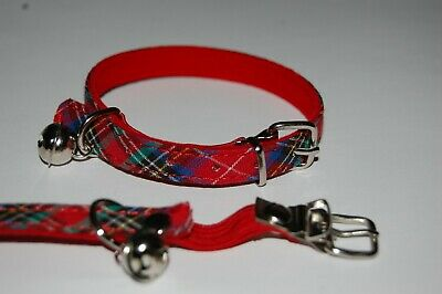 RED TARTAN ELASTICATED CAT COLLAR with or without ENGRAVED ID TAG