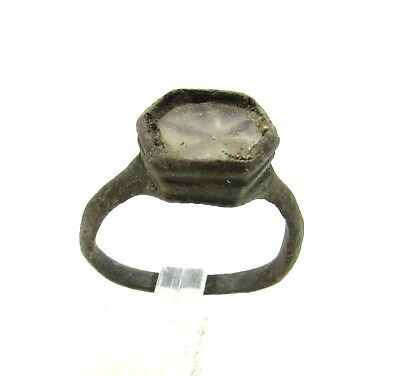 Authentic Late Medieval Tudor Bronze Ring W/ Glass - Wearable - J119