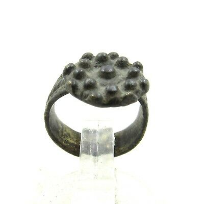 Authentic Medieval Tudor Bronze Ring W/ Crown Shaped Bezel - Wearable - J120
