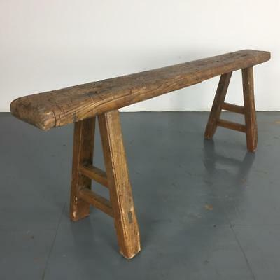 Old Rustic Antique Vintage Wooden Waxed Pig Bench Small Pb118