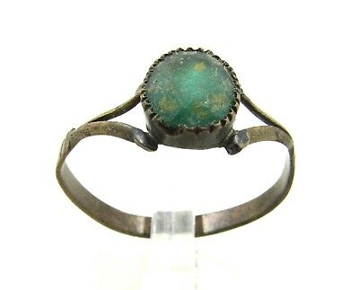 Authentic Late Medieval Tudor Bronze Ring W/ Glass - Wearable - J122