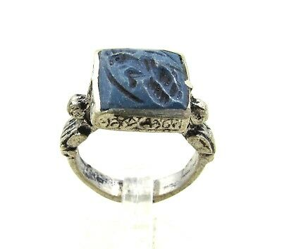 Authentic Post Medieval Silver Ring W/ Intaglio Lapis Warrior - Wearable - J123