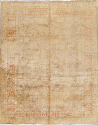 Antique AllOver Tea-washed Color Muted Oushak Turkish Hand-Knotted 9x12 Gold Rug