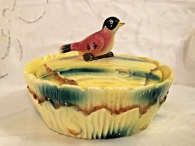 Vintage Art Pottery Trinket Box w/Bird Lid Tree Bark Candy Dish 1940s Rare