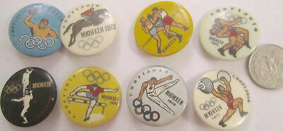 8 OLD Munich Munchen 1972 Olympic Pins USSR Sport Lottery Ad Wrestling etc