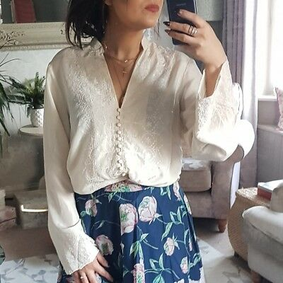 Monsoon Vintage Ladies 10 Blouse Top 100% Silk Ivory Embroidered Button Down VGC