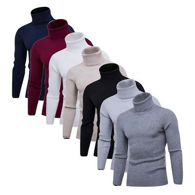 Mens Winter Slim Fit Knitted Thermal Sweater Turtleneck Pullover Jumper Tops
