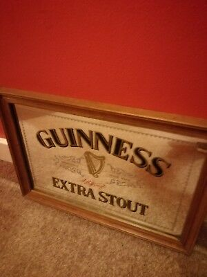 Vintage Guinness Extra Stout Small Glass Bar Mirror Picture