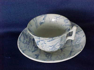 Vintage Blue Transfer Ironstone Miniature Cup & Saucer