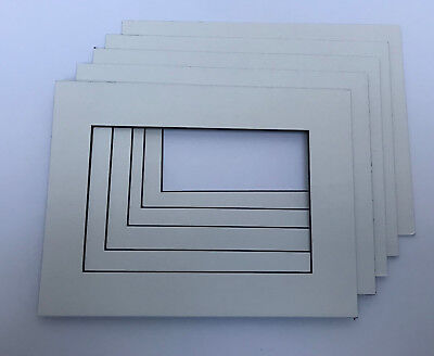 Pack of 5 Hayseed(Off White) Textured Blackcore Picture/Photo mounts