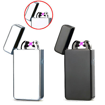 Electric USB Lighter Dual Arc Rechargeable Plasma Windproof Flameless Cigarette