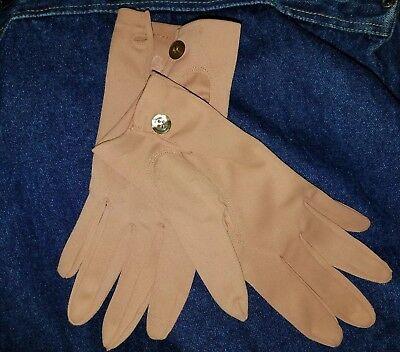 Crescendoe Caresse Gloves Size 7.5 Vintage Tan With Buttons