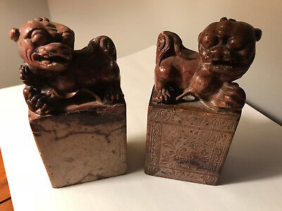 "Antique Estate Rare Asian Stone Carved Pair of Foo Dogs 5"" Tall - Good Condition"