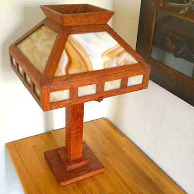 Prairie School Oak- Slag Glass Table Lamp Stickley Era