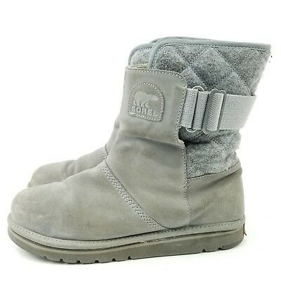 b385e7e83 SOREL 10 Gray Leather Womens NEWBIE Quilted Short Winter Boots NL 2068-060
