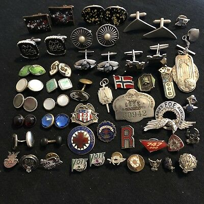 Lot Of Vintage Cuff Links Lapel Pins Tie Tacks Fraternal Religious Some Sterling