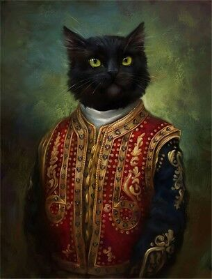 Royal cats Painting HD Canvas Print Home Decor Wall Art Picture 12x16 INCH